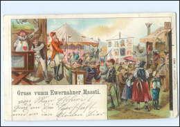 U6087/ Jahrmarkt Leierkasten Litho AK 1898 Ewernahner Massti  - Andere