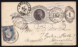 POSTAL CARD WITH NR. 63 From 1888 From PHILADELPHIA > BRUXELLES By FRANKFORD STAMP C° IMPORTERS - See Scans - 1847-99 General Issues