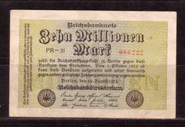 470d * REICHSBANKNOTE 86222 * 10 MILLIONEN MARK * 22.8.1923 ** !! - [ 3] 1918-1933: Weimarrepubliek