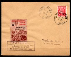 FJ7027 / Dept 06 (Alpes Maritimes) CANNES 1946 > 1° Festival Du Film + Journée Air 30F Du 22/09 - Marcofilie (Brieven)