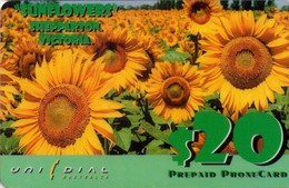 TARJETA TELEFONICA DE AUSTRALIA. (FLORA) Sunflowers. AUS-UNI-122-1. (010) - Flores