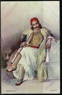 Ref 1279 - Early Greece Ethnic Postcard - Man Smoking Long Pipe - Epirus Greece - Europe
