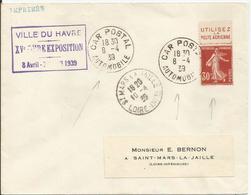 1937-39 - 360b Oblitéré (o) Sur Lettre - CAR POSTAL - FOIRE EXPO LE HAVRE 1939 - RRR - France