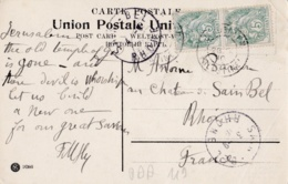 LEVANT :  Paire De Type Blanc 5c Vert Sur Carte De Jérusalem - Lettres & Documents