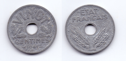 France 20 Centimes 1941 WWII Vichy French State Issue - France