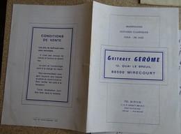 Tarifs Guitares Gérome Mirecourt + Courriers Et Facture Jp Spina - Partitions Musicales Anciennes