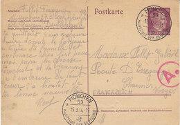Postkarte 15 Pfg Hitler De 1944 Pour La France ,censure - Allemagne