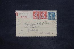 FRANCE - Entier Postal Type Semeuse + Complément En Recommandé De Grasse Pour Grasse En 1925 - L 25821 - Entiers Postaux