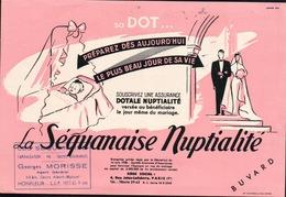 Ancien BUVARD Illustré ASSURANCE DOTALE NUPTIALITE , Tampon GEORGES MORISSE à HONFLEUR - Blotters