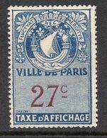 TIMBRE TAXE AFFICHAGE VILLE DE PARIS 27 C NEUF** - Steuermarken