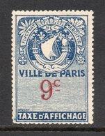 TIMBRE TAXE AFFICHAGE VILLE DE PARIS 9 C NEUF** - Steuermarken