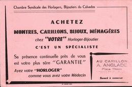 Ancien BUVARD Illustré MONTRES CARILLONS BIJOUX A.ANGLADE à HONFLEUR - H