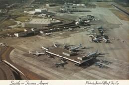 Sea-Tac International Airport, Seattle Washington, Aerial View Of Planes At Terminal, C1970s/80s Vintage Postcard - Aerodromes