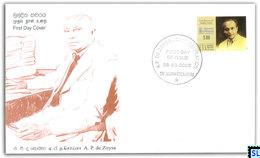 Sri Lanka Stamps 2009, A.P. De Zoysa, FDC - Sri Lanka (Ceylon) (1948-...)