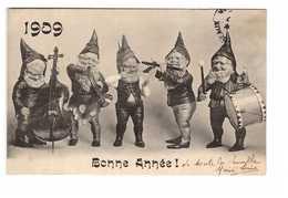 Fete Voeux Nouvel An 1909 Bonne Année Lutins Nains Musiciens Lutin Nain Musicien Musique - Nouvel An