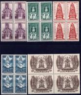 1945 Série La Vierge Marie, Patronne Du Luxembourg, Blocs à 4, Neuf, Michel: 382-386  Val.Catalogue:16€ - Luxembourg