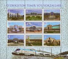 Uzbekistan 2018 Railway Stations Train Sheetlet Of 9v MNH - Uzbekistan