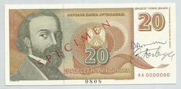 Yugoslavia 20 Novih Dinara 1994. SPECIMEN UNC - Yougoslavie