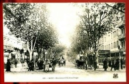 NICE - 60 : Boulevard Dubouchage - (Beau Plan Animé Avec Charrettes, Carriole, Cycliste) - CP Précurseur, Vers 1900. - Plätze