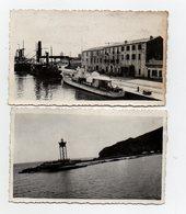 2 PHOTOS DES ANNEES 1930 - PORT VENDRES - 66 - LES BATEAUX - LE QUAI - LES DOUANES + UNE VUE A LA SORTIE DU PORT - Places