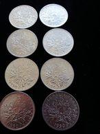 Lot De 8  Pièces De 5 Francs 1990 - France