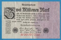 DEUTSCHES REICH 2 Millionen Mark09.08.1923 Serie# B.00307240  P# 103 - 2 Millionen Mark