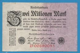 DEUTSCHES REICH 2 Millionen Mark09.08.1923 Serie# B.00680085  P# 103 - 2 Millionen Mark