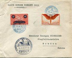 SUISSE LETTRE DEPART GORDON BENNNETT.............25 IX 32 BASEL + CACHET KLOSTER-EBRACH-PERLE-DES-........26-9-32 EBRACH - Posta Aerea
