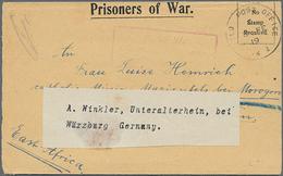 """Beleg 1919, Zensur-Kriegsgefangenenbrief Aus Dem Lager Tura Bei Cairo Nach Dar-es-Salam Mit Zettel """"weiter Nach Würzburg - Égypte"""