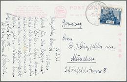 """Beleg 1937, 10 S. Freimarke Blau Auf AK """"S.S. Hakone Maru"""" Und St. Colombo Paquebot Nach München (Michel: 179) - Japon"""