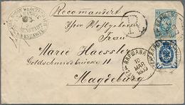 Beleg 1889, 7 Kop. Staatswappen  Pra.-GA-Umschlag Von Russland Mit 7 Kop. ZuF Als R-Brief Von Warschau Nach Magdeburg (M - Pologne