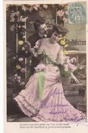 """CARTE FANTAISIE. COUPLE. LOT DE 5 CARTES . . """" LE TEMPS DES LILAS ET ROSES """"  . ANNÉE 1907 - Couples"""