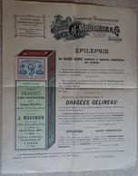 Ancienne Publicité - Entête - Laboratoire Pharmaceutique - J Mousnier & Cie - Sceaux (épilepsie) - Droguerie & Parfumerie