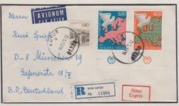 JOUGOSLAVIA PAR AVION REGISTERED MICHEL 1385/86 EUROPA - 1945-1992 République Fédérative Populaire De Yougoslavie