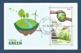 Dänemark  2016 Mi.Nr. 1882 /1883 Block 63 , EUROPA CEPT - Think Green - Gestempelt / Used / (o) - 2016
