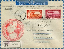 """SYRIE LETTRE RECOMMANDEE PAR AVION AVEC CACHET ROUGE """" PAN AMERICAN AIRWAYS........LIGNES AERIENNES DE LA FRANCE LIBRE """" - Covers & Documents"""