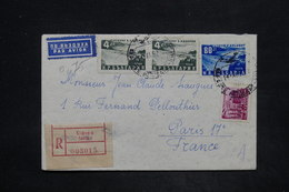 BULGARIE - Enveloppe En Recommandé De Sofia Pour Paris En 1952 , Affranchissement Plaisant - L 25853 - 1945-59 République Populaire