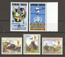 Togo 1988 - Petit Lot De 2 Séries Complètes MNH - OMS - Attentat De Sarakawa - Togo (1960-...)