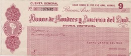 BANCO DE LONDRES Y AMERICA DEL SUD-CHEQUES CIRCA 1910 L'ARGENTINE - BLEUP - Chèques & Chèques De Voyage