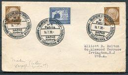 1938 Germany Deutsche Schiffspost Ship Cover. HAPAG, Hamburg - Sudamerika Westkuste MS PATRIA Maiden Voyage - Deutschland