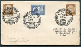 1938 Germany Deutsche Schiffspost Ship Cover. HAPAG, Hamburg - Sudamerika Westkuste MS PATRIA Maiden Voyage - Briefe U. Dokumente