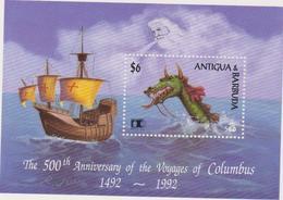 ANTIGUA Et BARBUDA 1 Bloc Feuillet  - 1992  - 500 Ans Découverte Amérique Christophe Colomb - Antigua Et Barbuda (1981-...)