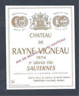 Etiquette Vin Chateau De RAYNE-VIGNEAU 1974 SAUTERNES PREMIER GRAND CRU - Bordeaux