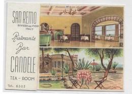 """CARD SAN REMO   RISTORANTE BAR """"CANDELE """" DA ACQUERELLO DI S.MUSSO  (IMPERIA)-FG-V -2- 0882-28827 - San Remo"""