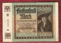 ALEMANIA - GERMANY - 5000 Mark 1922 EBC  P-81 - [ 3] 1918-1933: Weimarrepubliek
