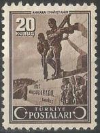 Turkey 1942/43 - Mi. 1127 O, Police Memorial In Afyon. - 1921-... République