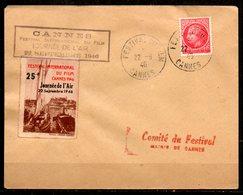 FJ7028 / Dept 06 (Alpes Maritimes) CANNES 1946 > 1° Festival Du Film + Journée Air 25F Du 22/09 - Marcophilie (Lettres)