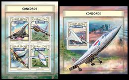 Sierra Leone 2016, Planes, Concorde, Klb + S/s MNH - Concorde