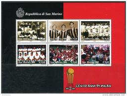 San Marino 1999. Michel Bl.#25 MNH/Luxe. 100 Years Of Football Club AC Milan. (Ts24) - Saint-Marin