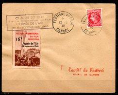 FJ7029 / Dept 06 (Alpes Maritimes) CANNES 1946 > 1° Festival Du Film + Journée Air 15F Du 22/09 - Marcophilie (Lettres)